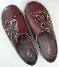 SPRING STEP Brown & Red Leather Clogs Slide Mules US Women's Size 9 EU 40