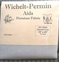 "Wichelt Imports PREMIUM Cross Stitch Fabric AIDA 14 ct 18"" X 25"" GRACEFUL GREY"