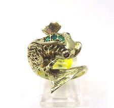 14k Yellow Gold Vintage Wrap Fish Ring With Emerald And Amethyst Birthstones