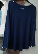 EVANS PLUS SIZE 22 24 NEW TAG NAVY BLUE LONG SLEEVE SHIRT BLOUSE STRETCHY TOP