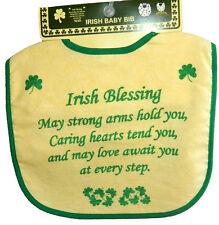 Babies Feeding Bib Irish Blessing Shamrocks Velcro Fastener 100% Cotton  9810