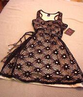 New Womens  Wrapper Sleeveless Black & Tan Dress  Size Medium 8-10