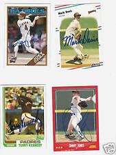 4 Autographed Padres cards Terry Kennedy  Joey Cora  Mark Davis & Jimmy Jones