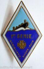 Insigne 1° Régiment du Génie 1945 Augis dos pointillé émail  original