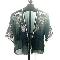 Pinky Womens Medium Sheer Belted Black Jacket Beige Floral Embroidery    Q