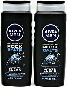 2 pack Nivea Men Deep Clean Body Wash Rock Salts Exfoliating Deep Clean 16.9o...