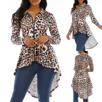 ❤️ Women's Zipper Asymmetrical Hem T Shirt Long Sleeve Leopard Print Blouse Tops