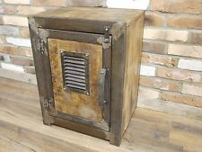 INDUSTRIAL RETRO RECLAIMED WOOD METAL STORAGE CABINET BEDSIDE UNIT (DX4773)