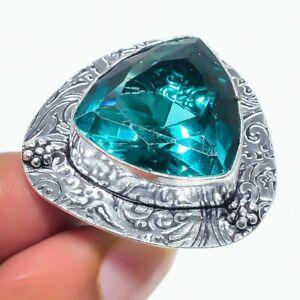 Indicolite Tourmaline Gemstone Handmade 925 Sterling Silver Jewelry Ring Size 7