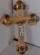 Vintage Jerusalem Cross Wall Wood Olive With Holy Land Relics
