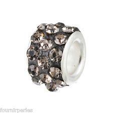 25 Bijoux FP Perles Charms Grand Trou(5mm) Gris Strass Pour Bracelet 11x7mm