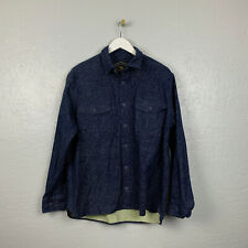 Freedom Foundry Mens Sz L Blue Flannel Button Up Shirt Pockets