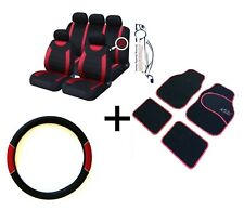 CARNABY RED CAR SPORT SEAT COVERS + MATCHING CARPET MATS & STEERING WHEEL COVER