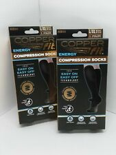 2 PAIR Copper Fit Energy Compression Socks Easy On/Off L/XL Men 9-12 Women 10-13