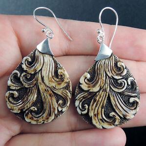 Large Solid 925 Sterling Silver Dangle Earrings Jewellery