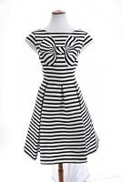 Kate Spade Pleated Fit and Flare Bow Dress Nautical Striped Blue Ivory Sz 10