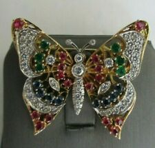 Vintage Platinum & 18K Diamond & Gem Brooch Dia=2.00 D-VS1 TCW=4.00  Value=$12K+