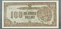 ND (1942) Japanese-Occupied Malaya 100 Dollar Banknote, P-M9.