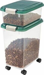 Airtight Pet Food & Treat Storage Container Combo IRIS USA Green
