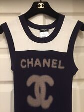Chanel 11P NEW MOST WANTED Ivory navy black rib knit CC LOGO Dress Top FR42-40