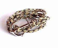 Bracelet corde noir et écru ancre de marin