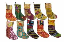 5 Pc Lot Indian Vintage Recycled Cotton Kantha Christmas Stockings Hangers Gift