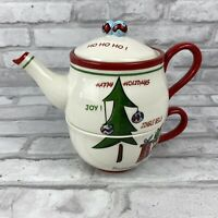 Harry and David Stacking Teapot and Mug Set For One Christmas Tree Holidays