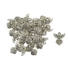 30x Vintage Filigree Hollow Tibetan Silver Angel Charms Pendants DIY Crafts