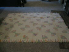 "Beautiful Feedsacks multi-colors Vintage Grandmothers Fan QUILT 101"" x 80"""
