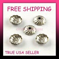 8mm 10pc 304 Surgical Stainless Steel Spindle Tibetan Flower Bead Caps FREE SHIP