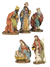Set of 5 16cm Christmas Nativity Figures  Decoration Traditional Resin Ornament