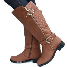 New Women TPap Tan Quilted Buckle Knee High Riding Boots size 5.5 to 10