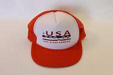 USA God Bless America Orange Mesh Foam Trucker Hat Ball Cap Adjustable