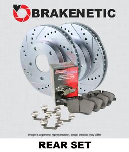 REAR BRAKENETIC SPORT Drill Slot Brake Rotors + POSI QUIET CERAMIC Pads BSK94648