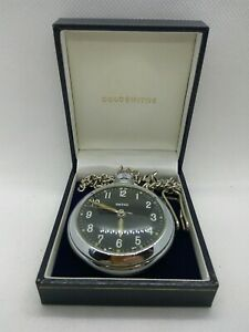 Vintage Smiths Pocket Watch With Chain &box Working Excellent