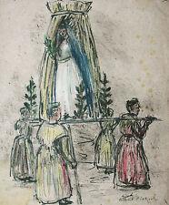 Feierliche Prozession Tölz Farbkreidezeichnung 1919 Richard Pietzsch 1872-1960