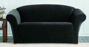 SureFit Stretch Corduroy 1-Piece - Sofa Slipcover - Black/Ebony  (New, Sealed)