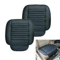 2Pcs PU Leather Car Seat Cover Universal Breathable Pad Mat Chair Cushion Black