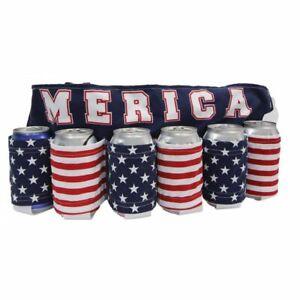 """Beer Belt """"MERICA"""" Holds 6 Pack Gag Gift, White Elephant, Office Party, Novelty"""