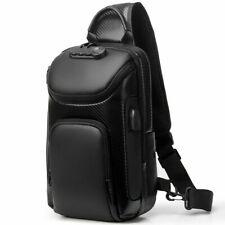 Men's Sling Backpack Oxford+Carbon Fiber Waterproof Anti-theft Crossbody Bags