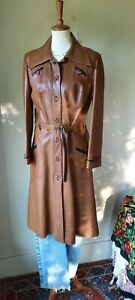 Vintage 70s Imperial belted leather midi coat beautiful condition 12