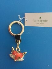 Kate Spade Key Chain Fox orange gold clear crystal enamel new charm sly fob