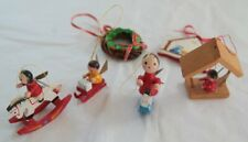 Set 6 Vintage Wooden Christmas Tree Decorations including Angels