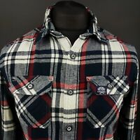 Superdry Mens THICK Shirt Flannel SMALL Long Sleeve Slim Fit Check Cotton