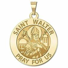 Custom Engraved Saint Walter Religious Medal - 3/4 Inch Size of a Nickel -Sterli