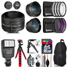 Nikon AF 50mm 1.8D -3 Lens Kit + Slave Flash + Tripod - 16GB Accessory Bundle