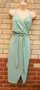 QUIZ LIGHT GREEN WRAP STRAPPY BELTED BODYCON SLEEVELESS PARTY MIDI DRESS 14 L