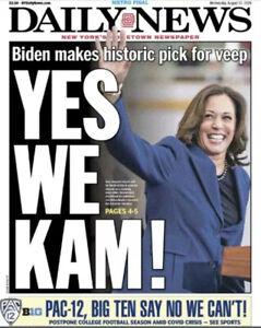NEW YORK DAILY NEWS YES WE KAM!   Kamala Harris Vice President Biden 8/12/20