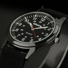 INFANTRY Mens Quartz Wrist Watch Luminous Military Dial Army Sports Black Canvas