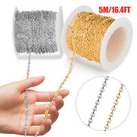 5 Meter 2mm Width DIY Stainless Steel Jewelry Cable Link Chain Necklace Bracelet